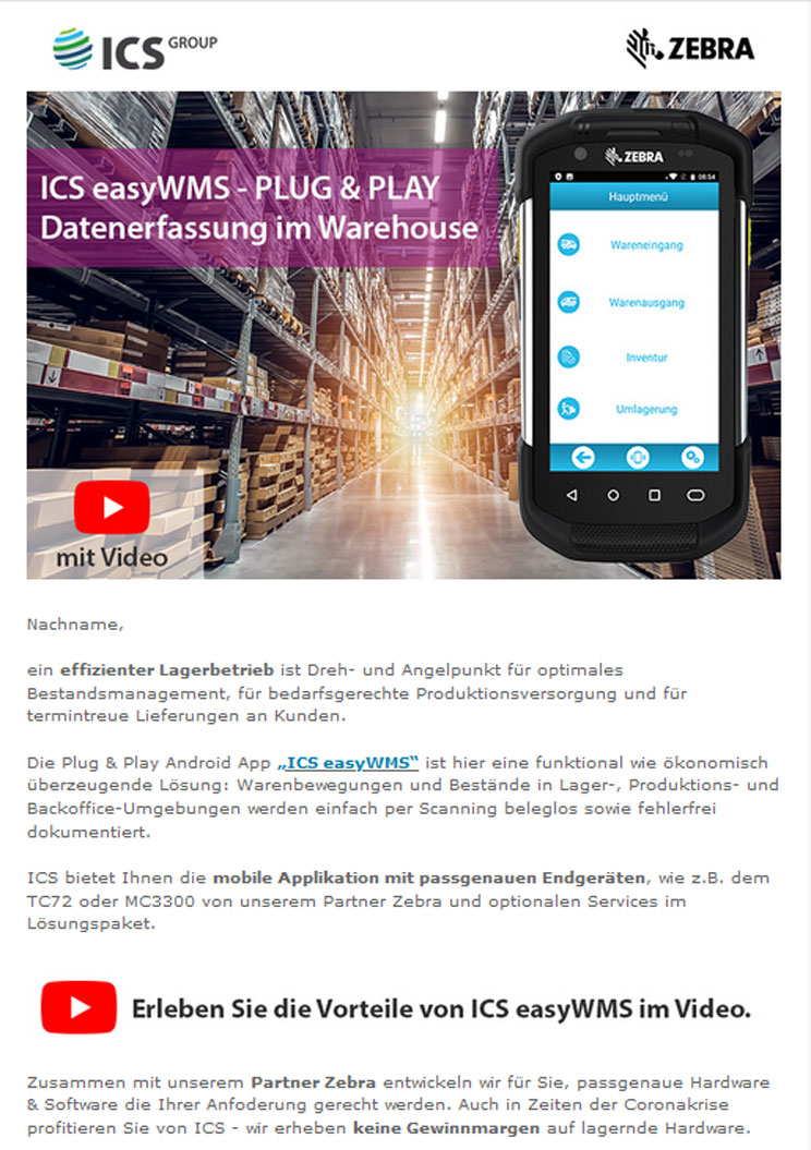 Easy WMS - Plug and Play Datenerfassung im Warehouse